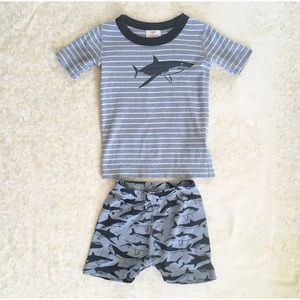 Hanna Andersson Short Johns Sharks Blue Pajamas 5